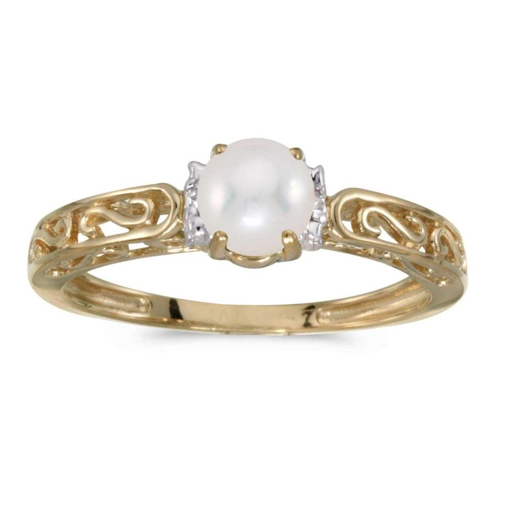 Certified 10k Yellow Gold Pearl And Diamond Ring 0.01 CTW #PAPPS25461