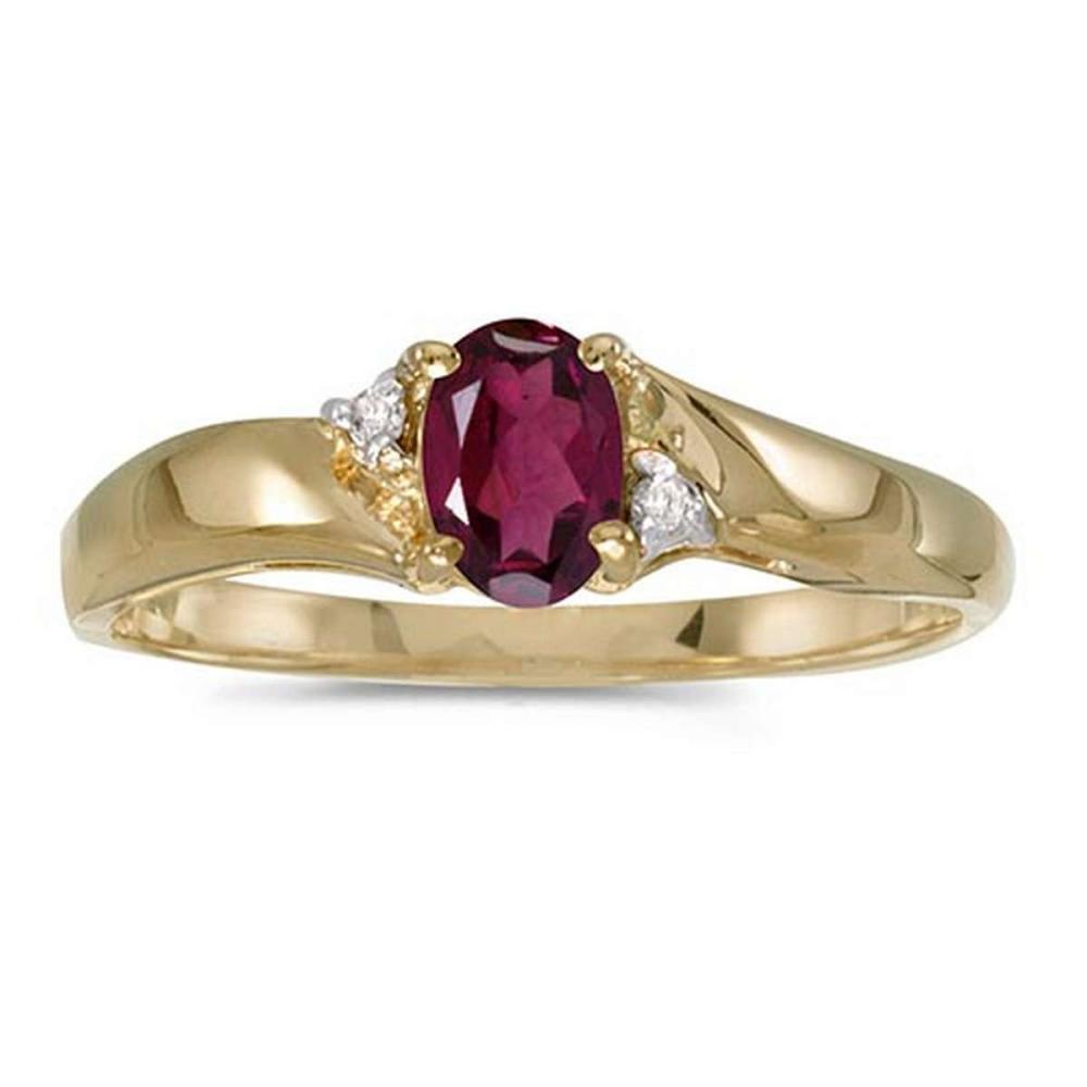 Certified 14k Yellow Gold Oval Rhodolite Garnet And Diamond Ring #PAPPS51248