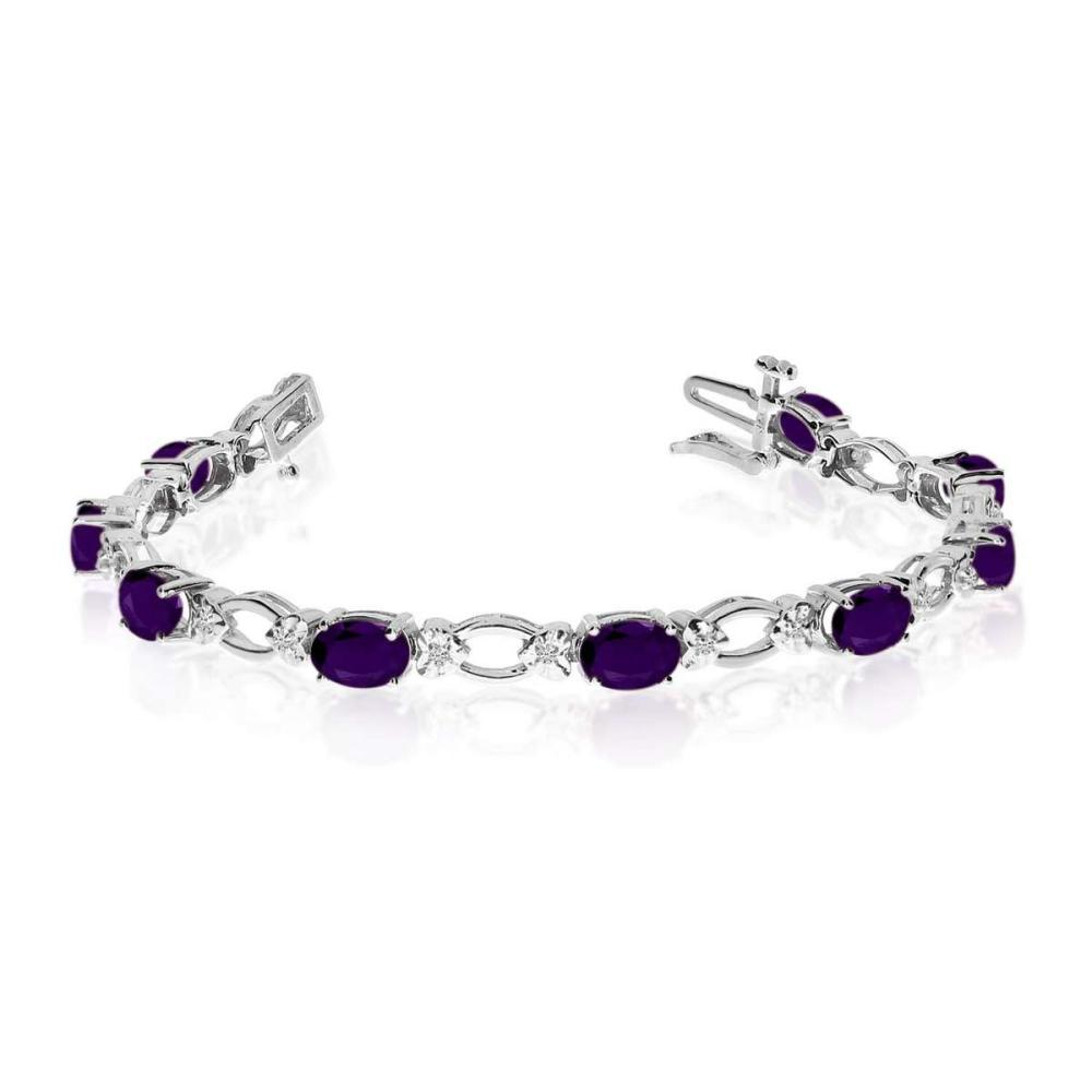Certified 14k White Gold Natural Amethyst And Diamond Tennis Bracelet 4.92 CTW #PAPPS25383