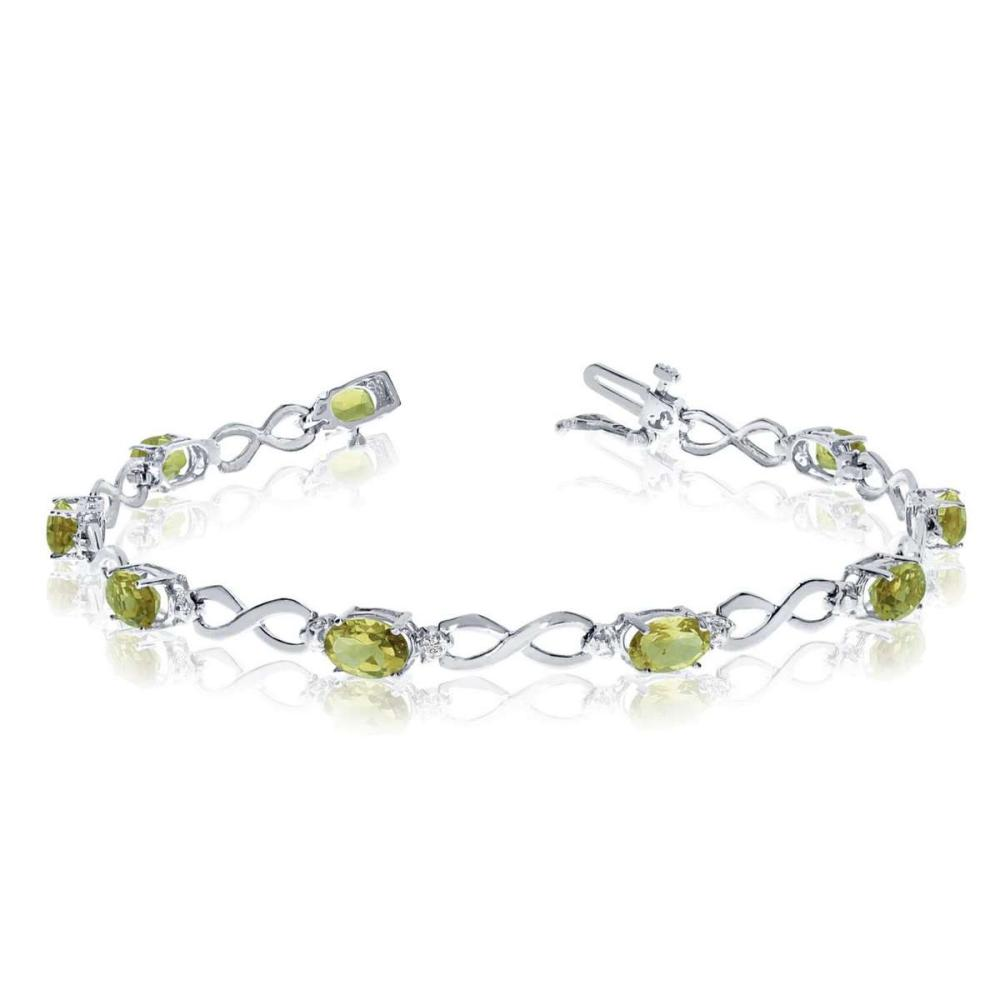 Certified 10K White Gold Oval Peridot and Diamond Bracelet 3.63 CTW #PAPPS25399