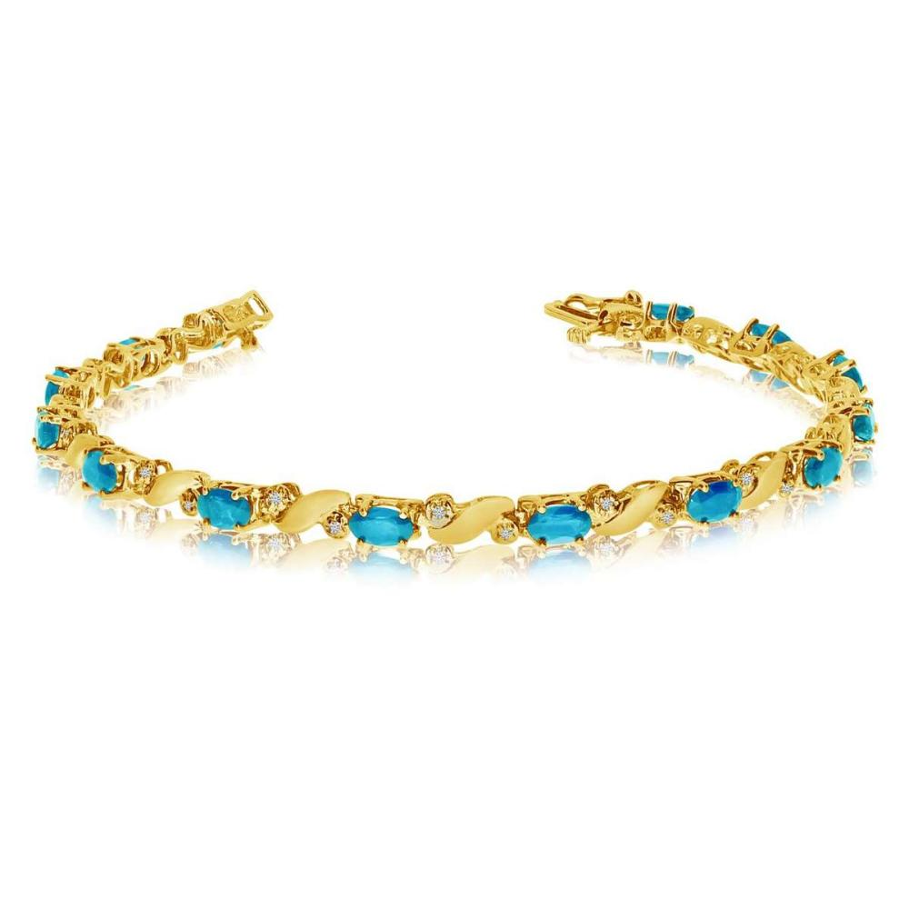 Certified 14k Yellow Gold Natural Blue-Topaz And Diamond Tennis Bracelet 2.62 CTW #PAPPS25455