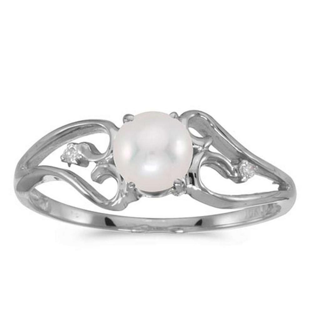 Certified 10k White Gold Pearl And Diamond Ring #PAPPS50705
