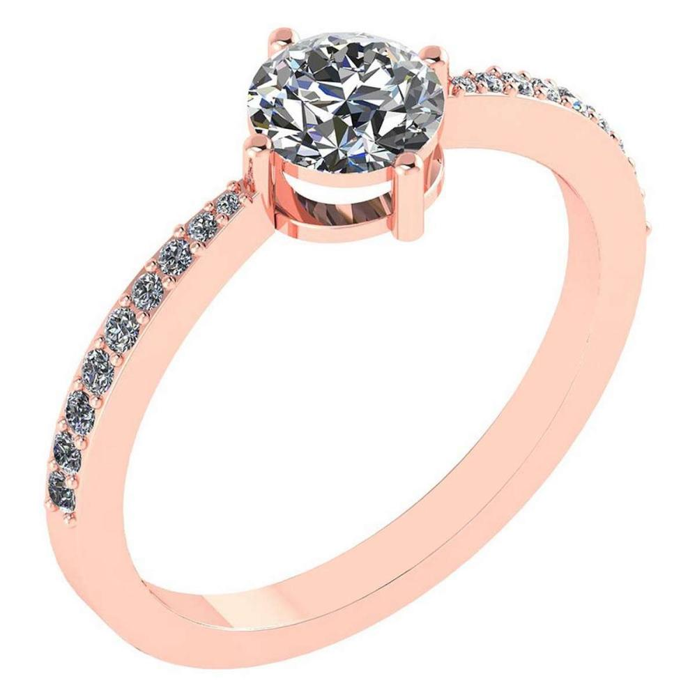 0.97 Ctw Diamond 14k Rose Gold Halo Ring VS/SI1 #PAPPS96938