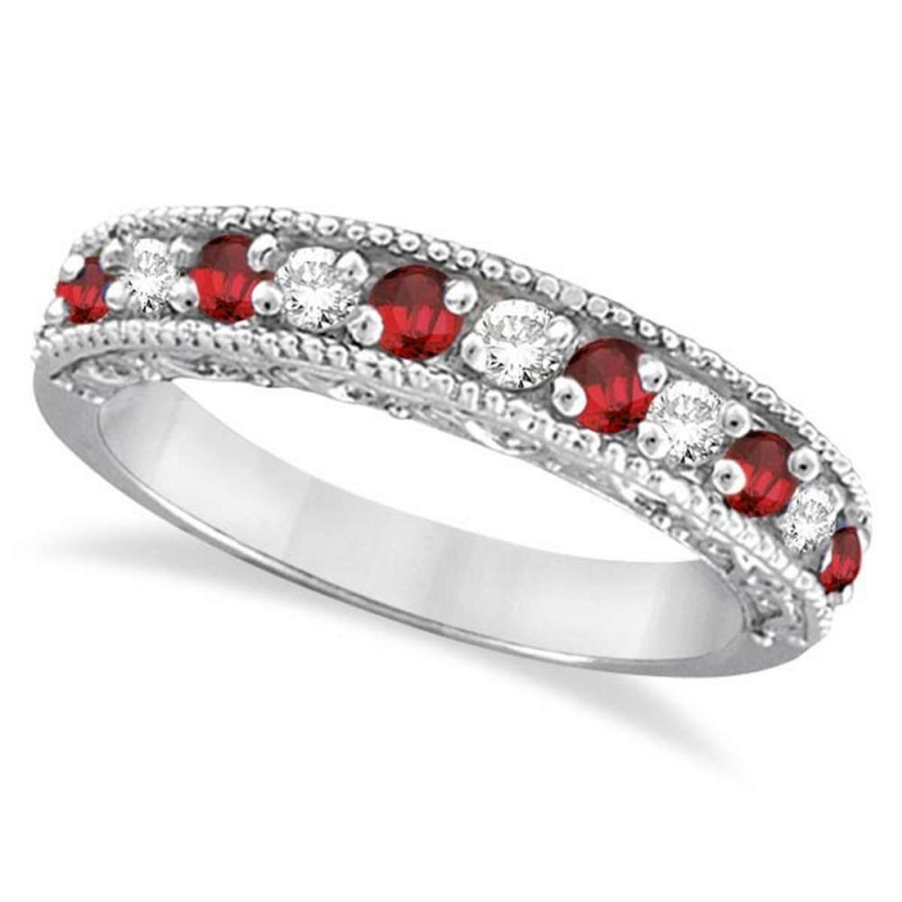 Diamond and Ruby Ring Anniversary Band 14k White Gold (0.59ct) #PAPPS20822
