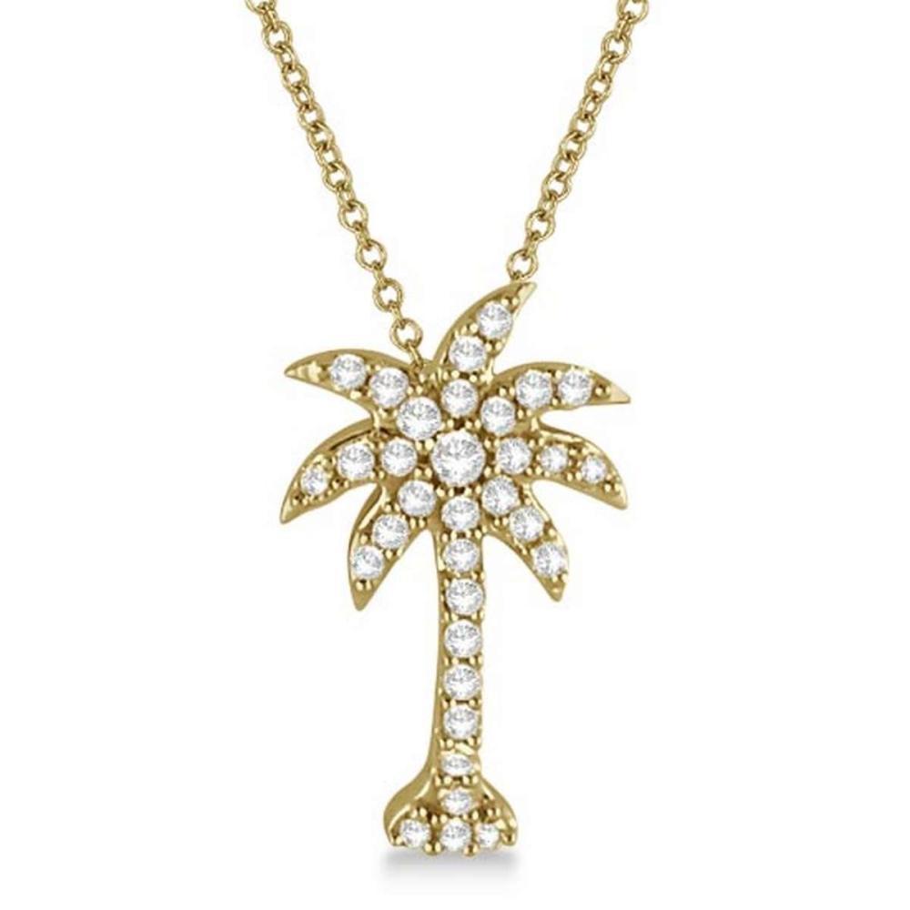 Palm Tree Shaped Diamond Pendant Necklace 14k Yellow Gold (1/4ct) #PAPPS20714