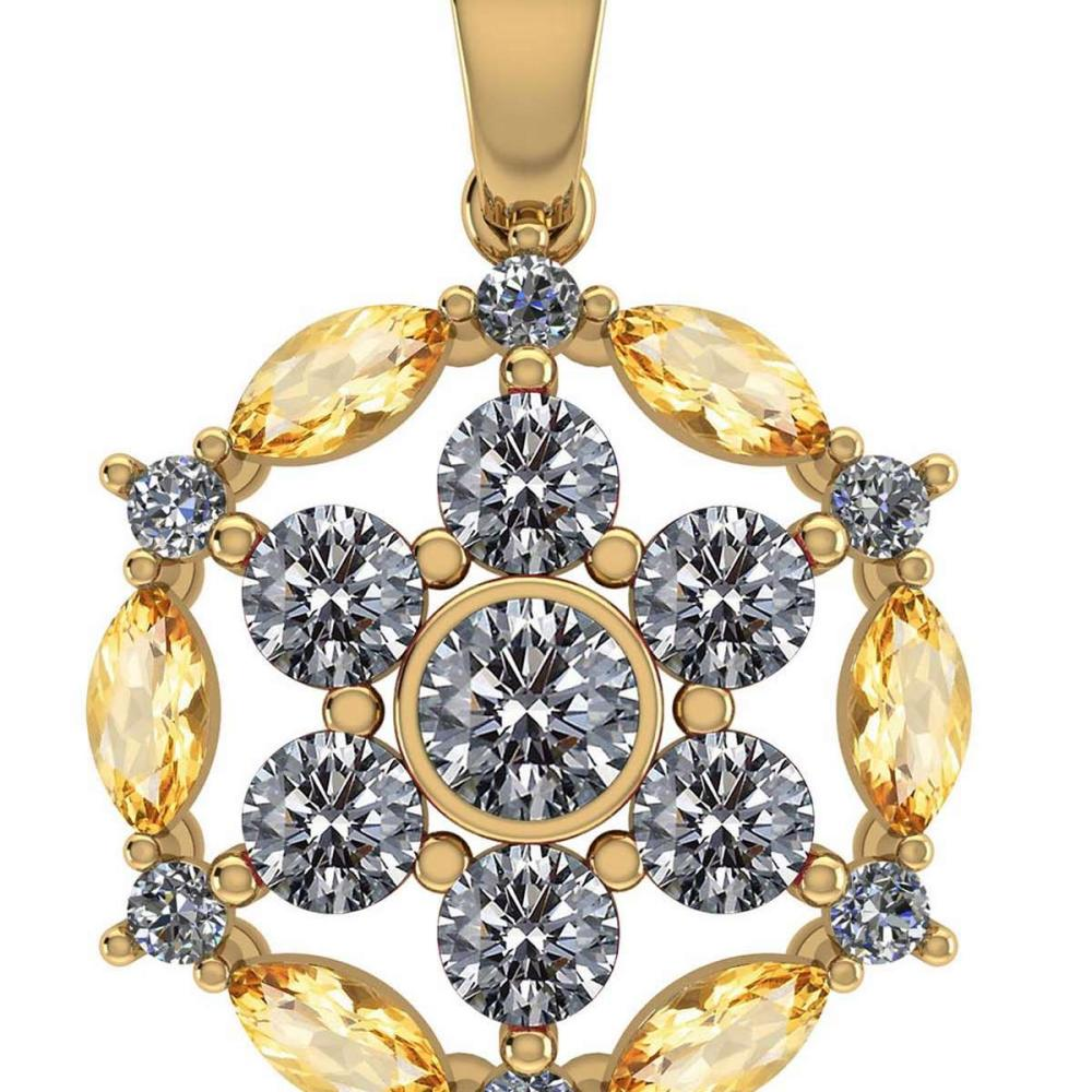 Certified 1.30 CTW Genuine Citrine And Diamond 14K Yellow Gold Pendant #PAPPS91958