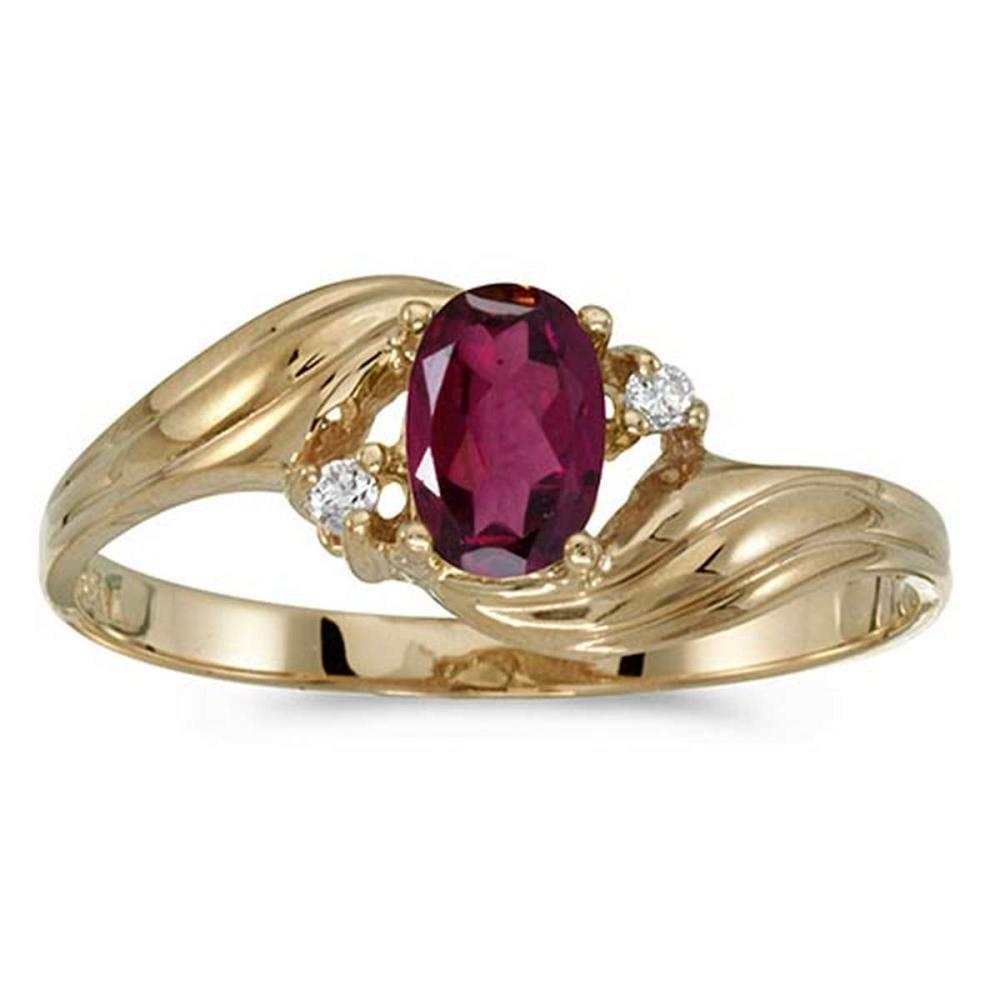 Certified 10k Yellow Gold Oval Rhodolite Garnet And Diamond Ring #PAPPS51227