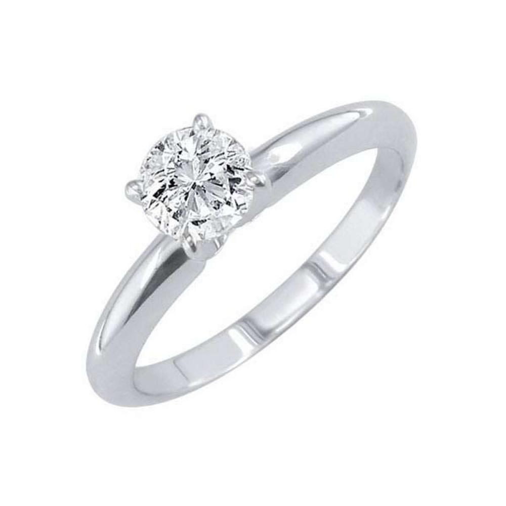 Certified 0.88 CTW Round Diamond Solitaire 14k Ring D/I2 #PAPPS84231