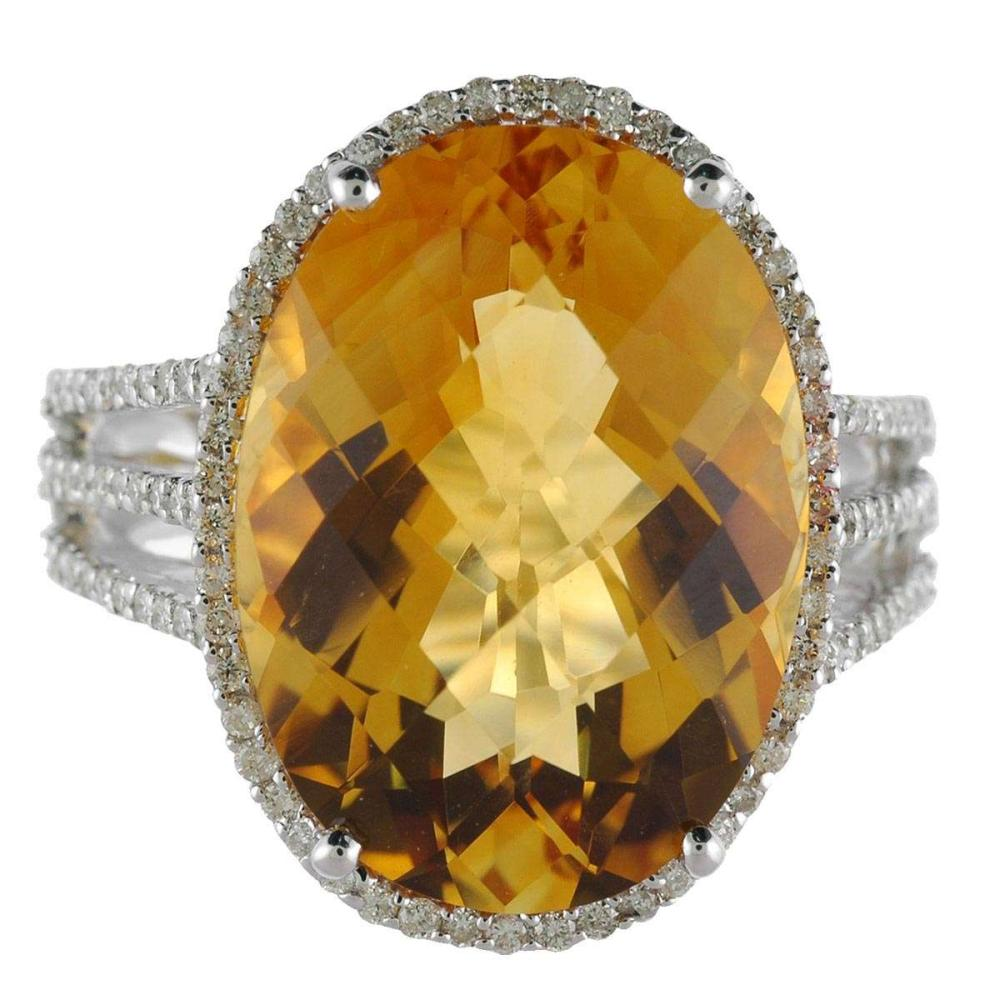 Certified 14k White Gold Large Oval Citrine And Diamond Ring 12.5 CTW #PAPPS25412