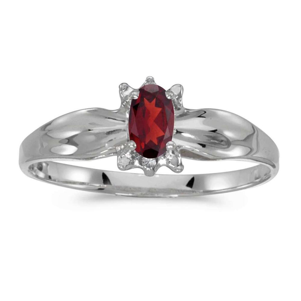 Certified 10k White Gold Oval Garnet And Diamond Ring 0.24 CTW #PAPPS25463