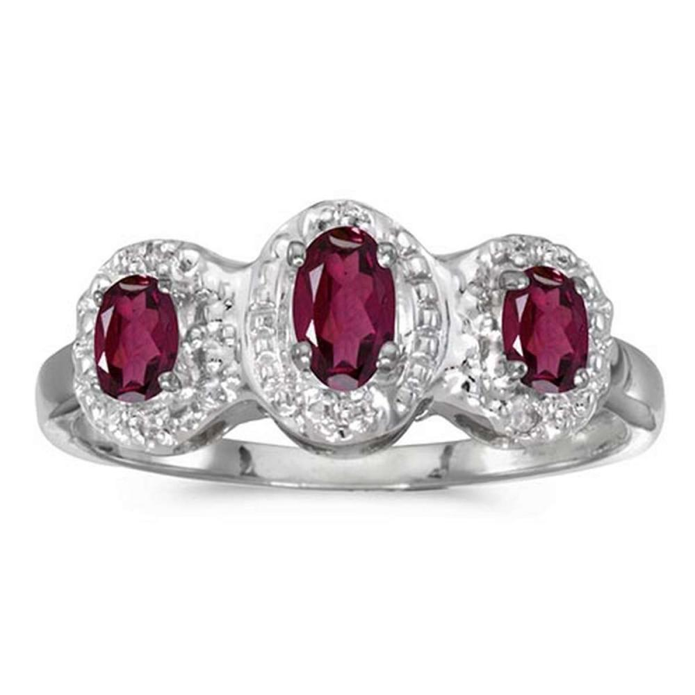Certified 14k White Gold Oval Rhodolite Garnet And Diamond Three Stone Ring #PAPPS51280
