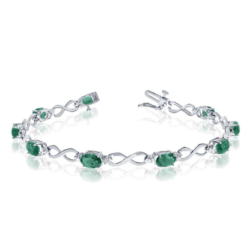 Certified 10K White Gold Oval Emerald and Diamond Bracelet 2.82 CTW #PAPPS25398