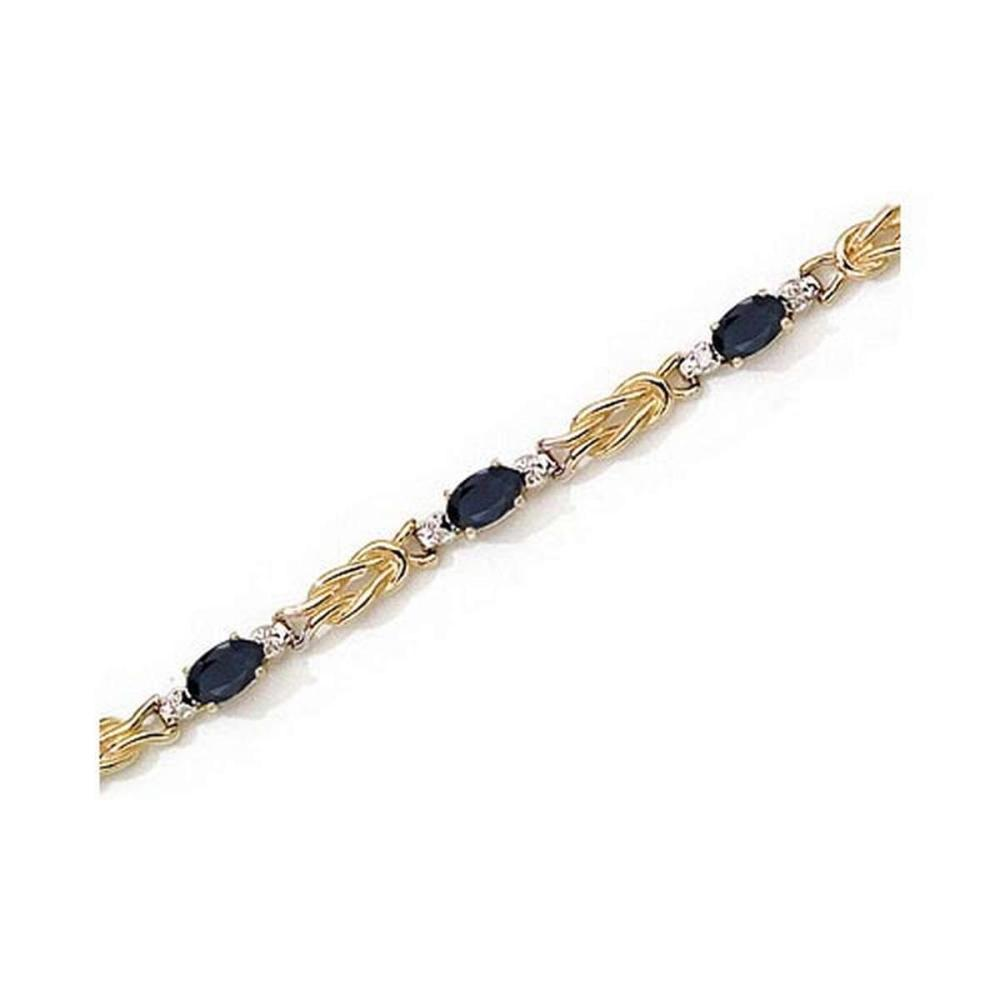 Certified 14K Yellow Gold Oval Sapphire and Diamond Bracelet 2.8 CTW #PAPPS25440