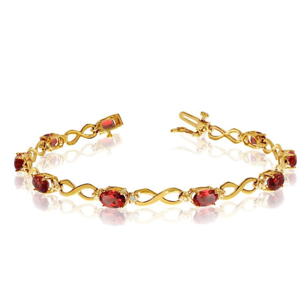 Certified 10K Yellow Gold Oval Garnet and Diamond Bracelet 4.26 CTW #PAPPS25389