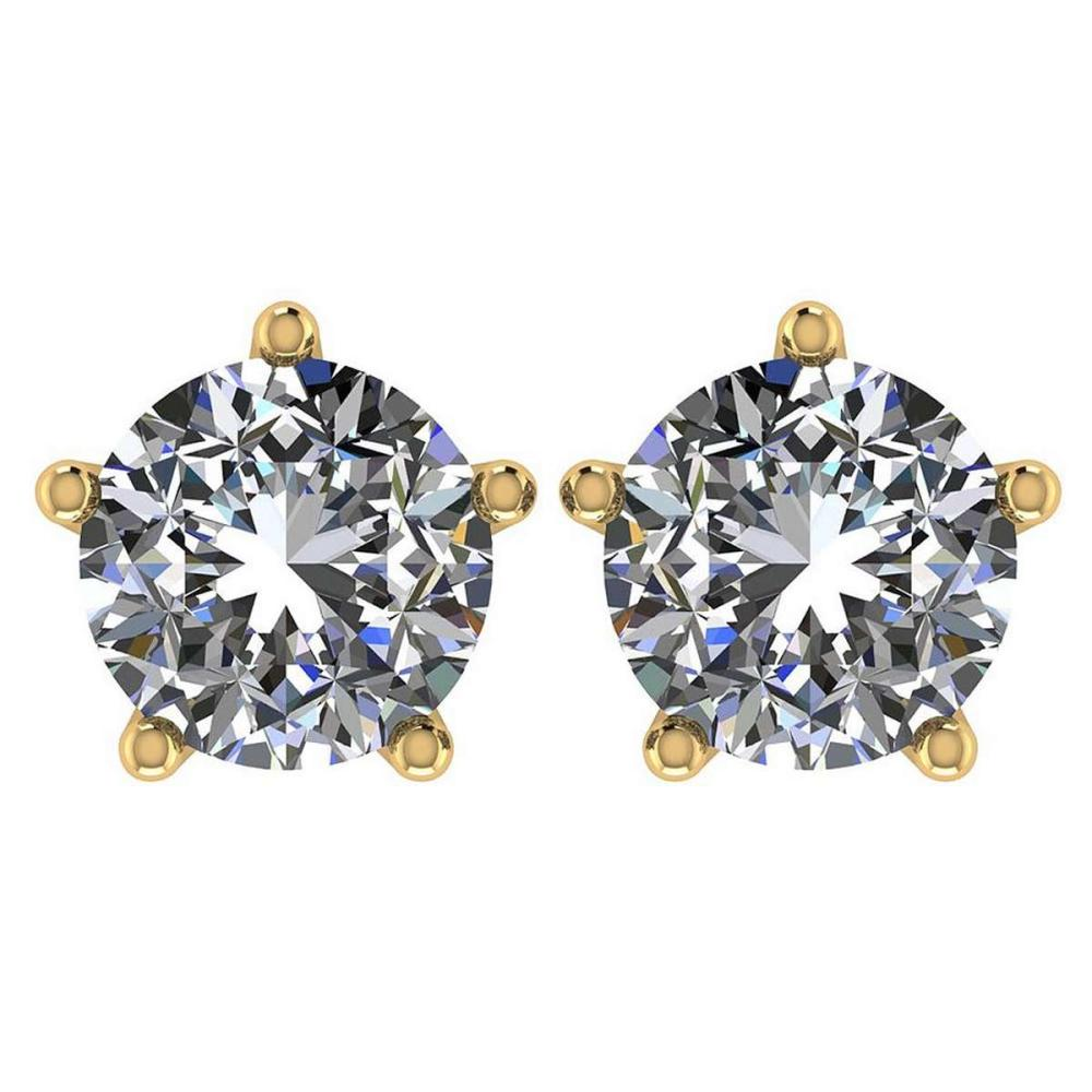 Certitifed 1.60 Ctw Round Diamond 14K Yellow Gold Stud Earrings #PAPPS97121