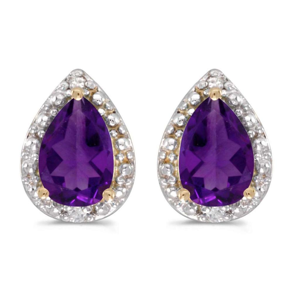 Certified 14k Yellow Gold Pear Amethyst And Diamond Earrings 0.88 CTW #PAPPS24946