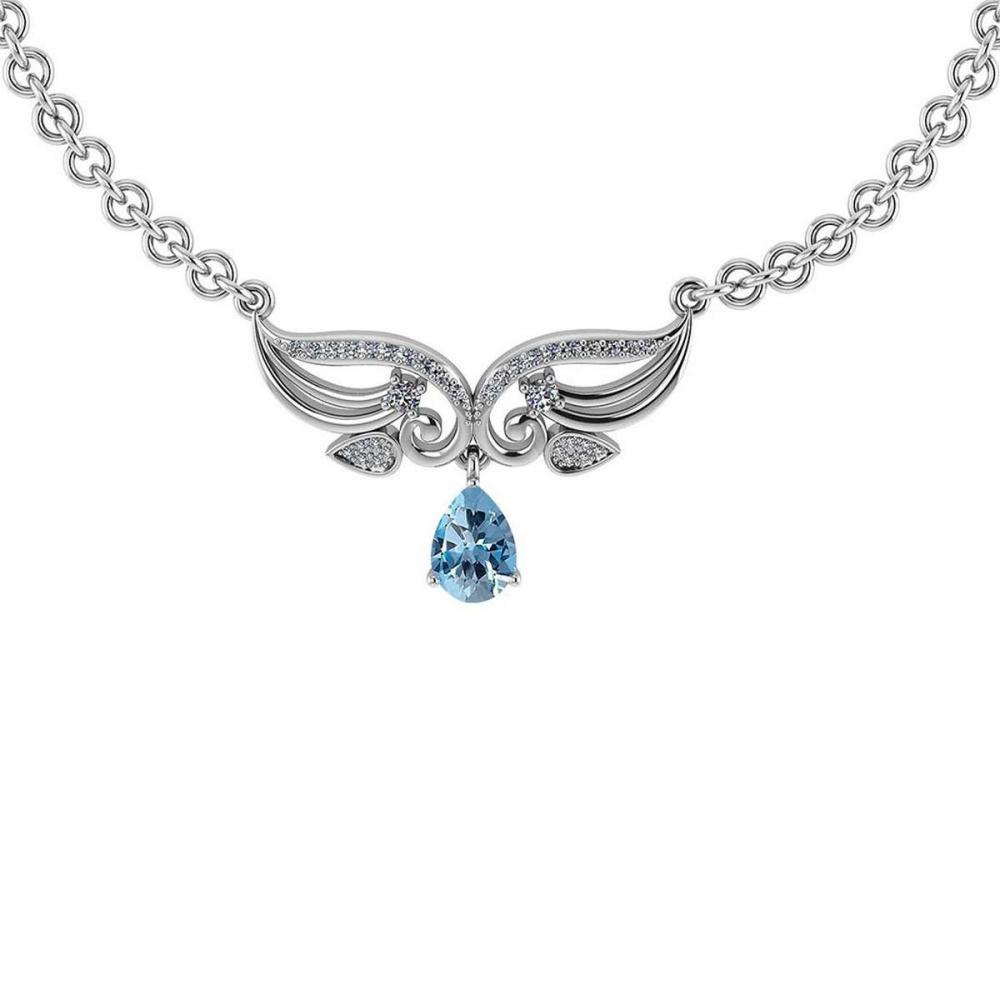 Certified 3.94 Ctw Genuine Blue Topaz And Diamond 14k White Princess Necklace #PAPPS94617