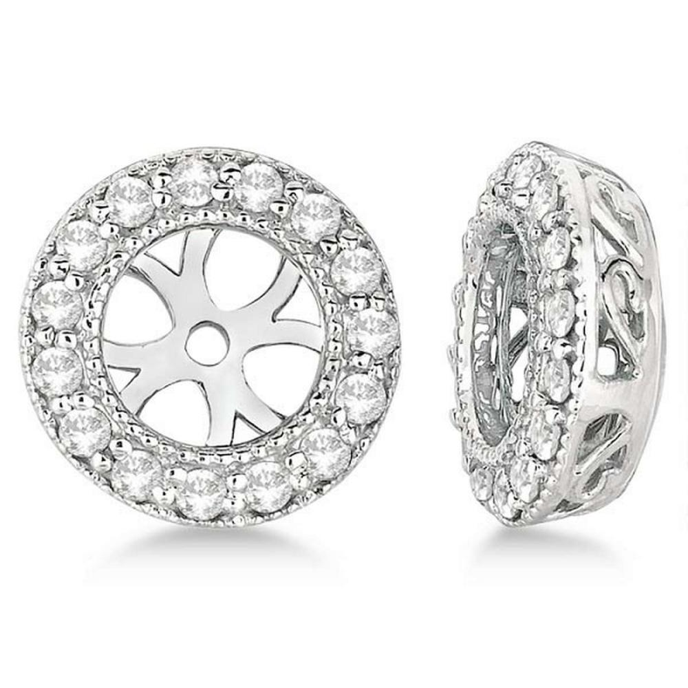 Vintage Round Cut Diamond Earring Jackets 14k White Gold (0.30ct) #PAPPS20732