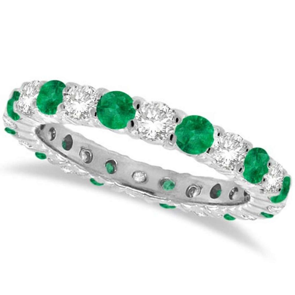 Emerald and Diamond Eternity Ring Band 14k White Gold (1.07ct) #PAPPS21249