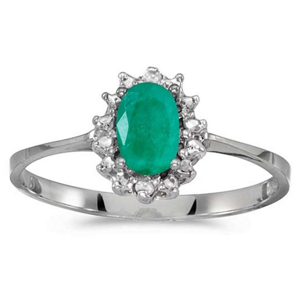 Certified 10k White Gold Oval Emerald And Diamond Ring #PAPPS51271