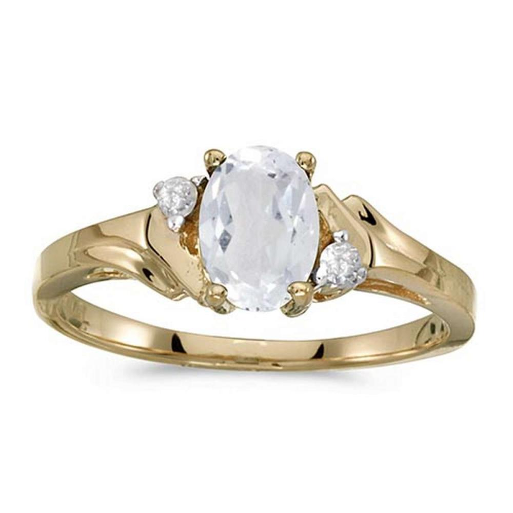 Certified 10k Yellow Gold Oval White Topaz And Diamond Ring #PAPPS51324