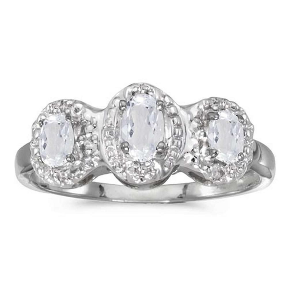 Certified 14k White Gold Oval White Topaz And Diamond Three Stone Ring #PAPPS51333