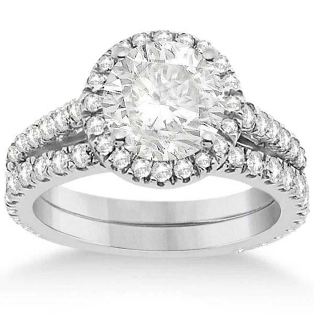 Diamond Bridal Halo Engagement Ring and Wedding Band 14K White Gold (1.30ct) #PAPPS21260