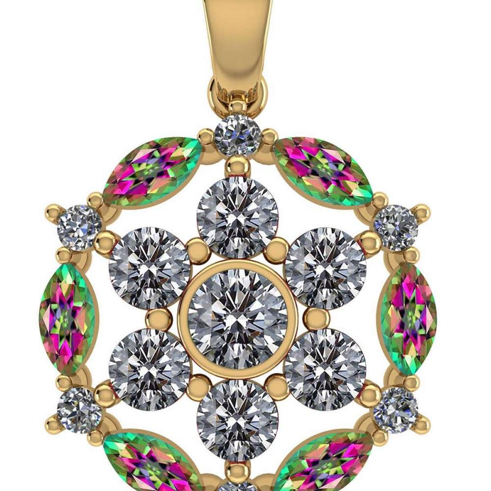 Certified 1.30 CTW Genuine Mystic Topaz And Diamond 14K Yellow Gold Pendant #PAPPS91961