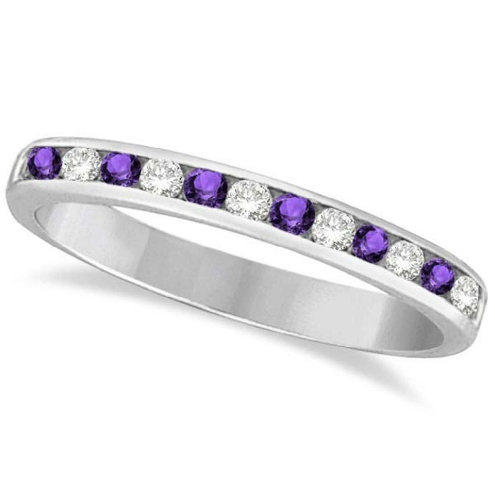 Amethyst and Diamond Semi-Eternity Channel Ring 14k White Gold (0.40ct) #PAPPS20787