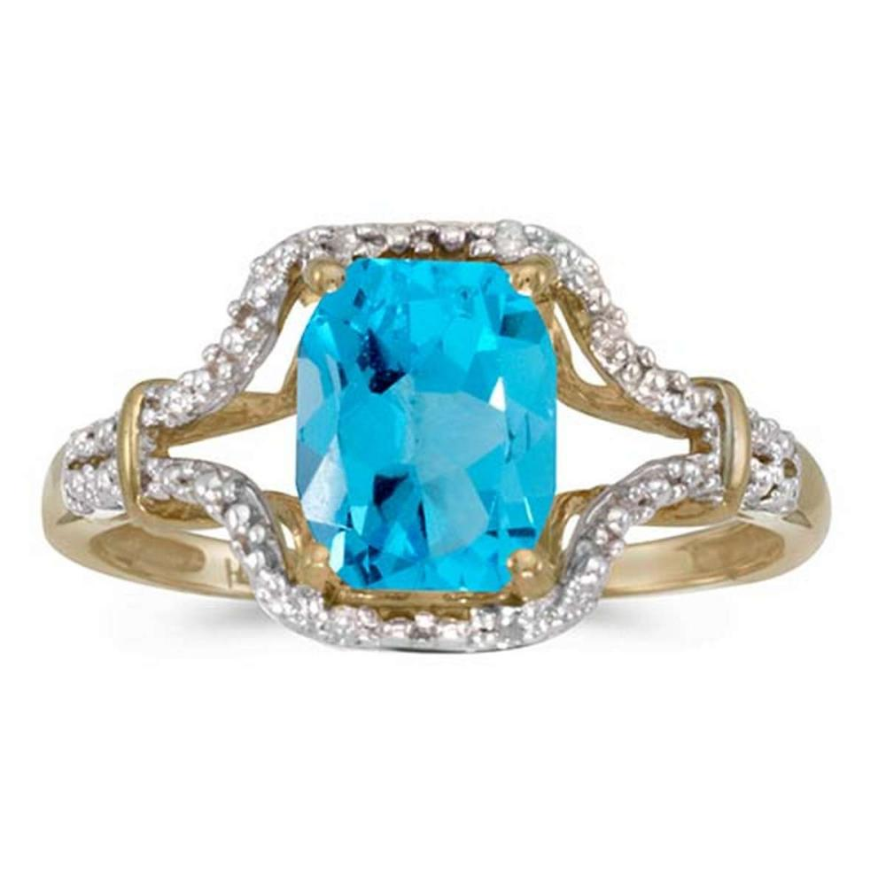 Certified 10k Yellow Gold Emerald-cut Blue Topaz And Diamond Ring #PAPPS51311