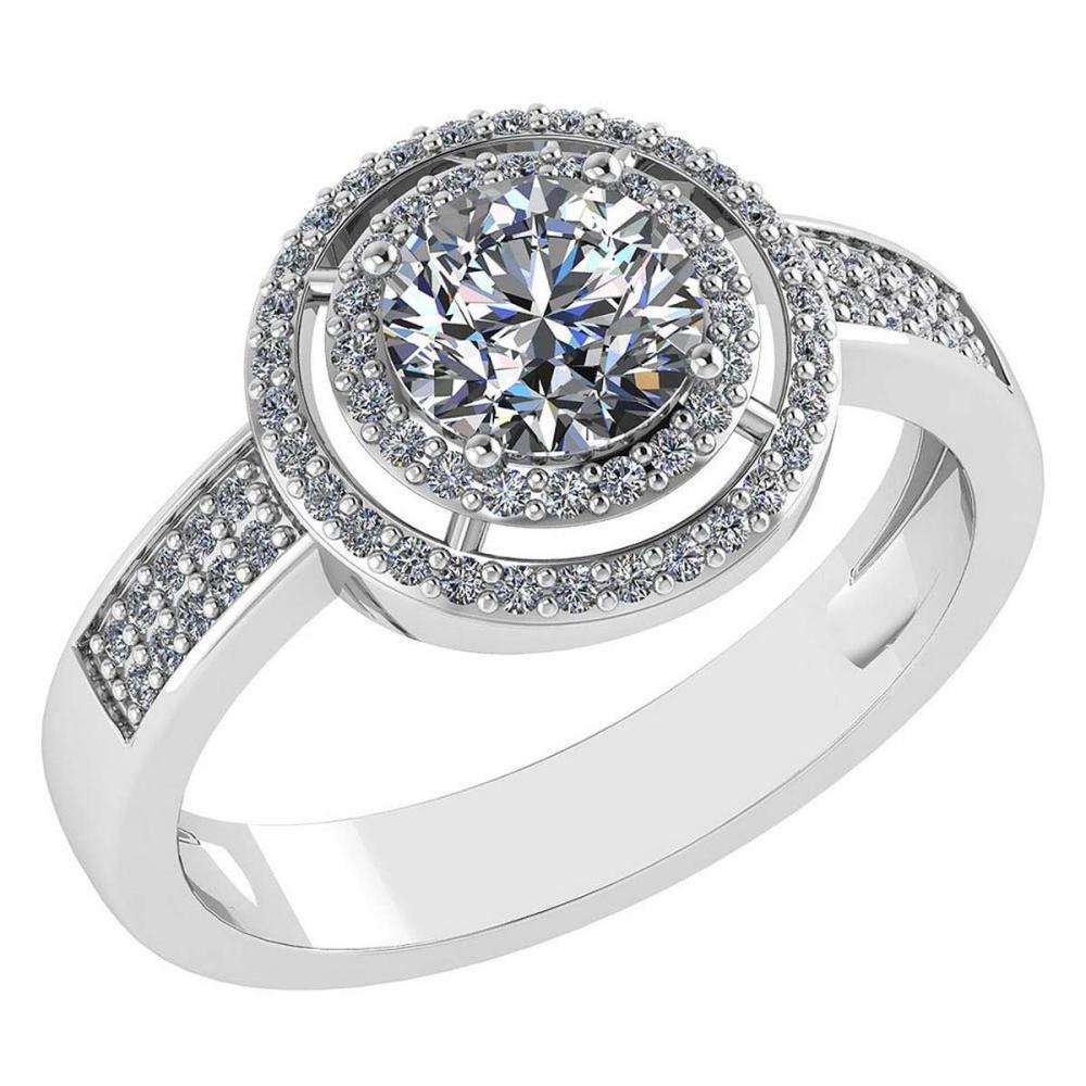 1.35 Ctw Diamond 14k White Gold Halo Ring VS/SI1 #PAPPS96942