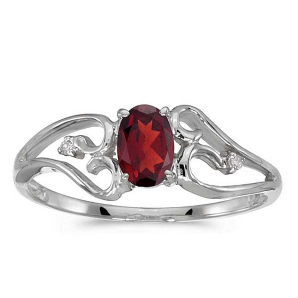 Certified 10k White Gold Oval Garnet And Diamond Ring #PAPPS50695
