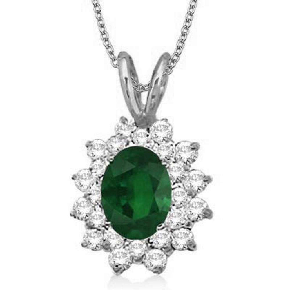Emerald and Diamond Accented Pendant 14k White Gold (1.60ctw) #PAPPS20694