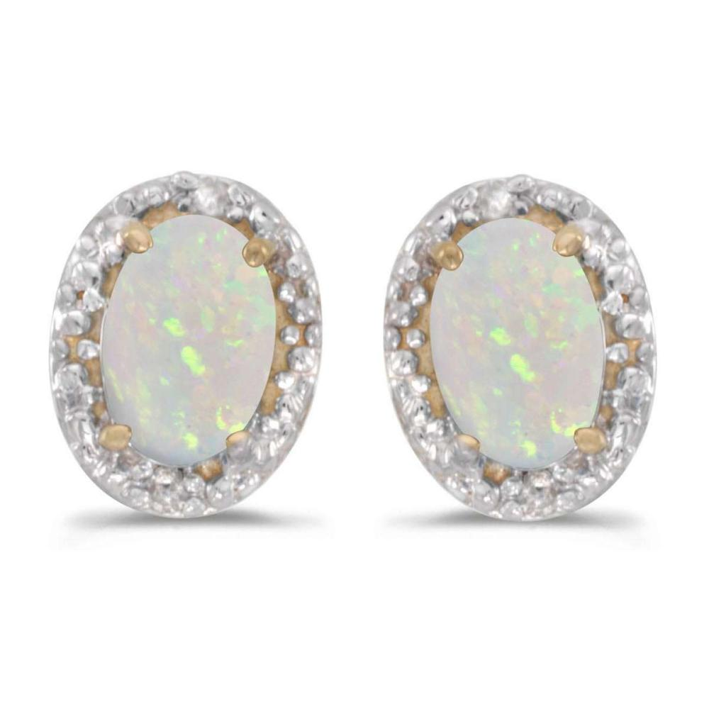 Certified 14k Yellow Gold Oval Opal And Diamond Earrings 0.4 CTW #PAPPS27161
