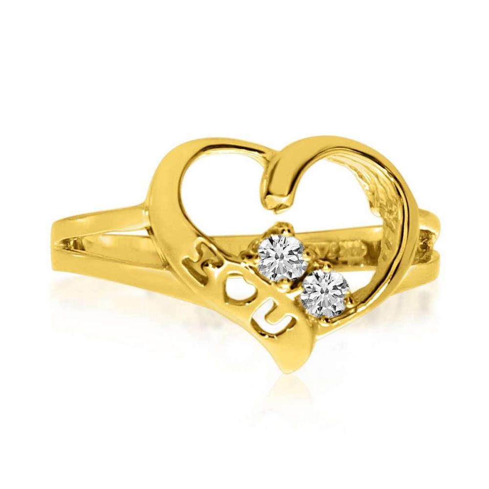 Certified 14K Yellow Gold I Love You Two-Stone Diamond Ring 0.12 CTW #PAPPS25414
