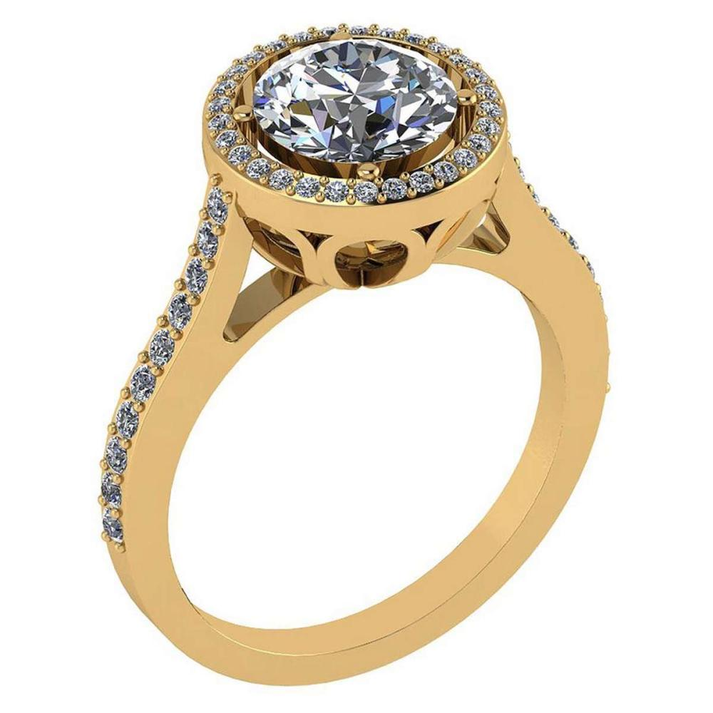 2.23 Ctw Diamond 14k Yellow Gold Halo Ring VS/SI1 #PAPPS96935