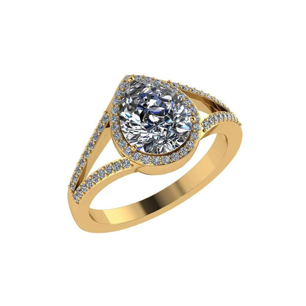 Certified 1.35 CTW Pear Diamond 14K Yellow Gold Ring #PAPPS91980