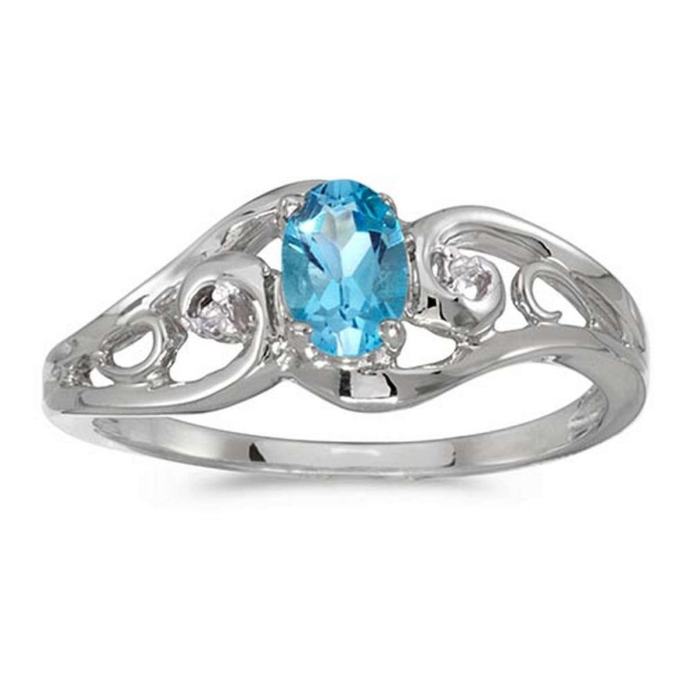 Certified 10k White Gold Oval Blue Topaz And Diamond Ring #PAPPS51270
