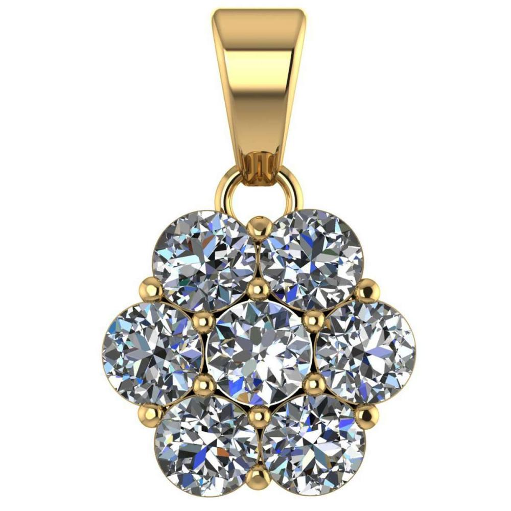 Certified 1.25 CTW Round Diamond 14K Yellow Gold Pendant #PAPPS92100