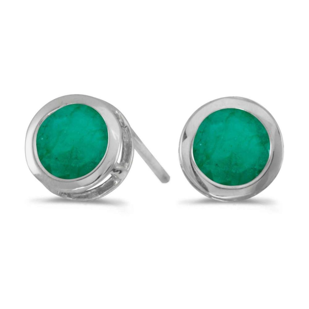 Certified 14k White Gold Round Emerald Bezel Stud Earrings 0.66 CTW #PAPPS27302