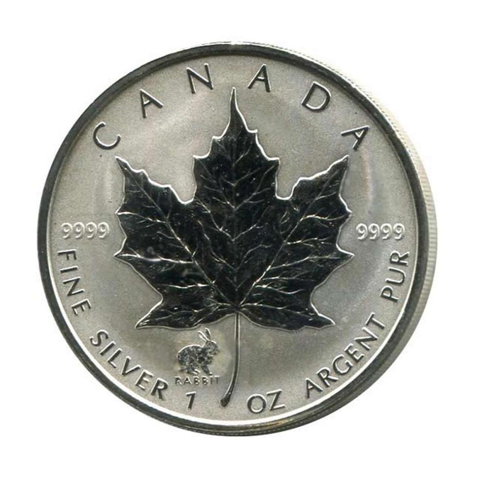 1999 Canada 1 oz. Silver Maple Leaf Reverse Proof Rabbit Privy Mark #PAPPS84464