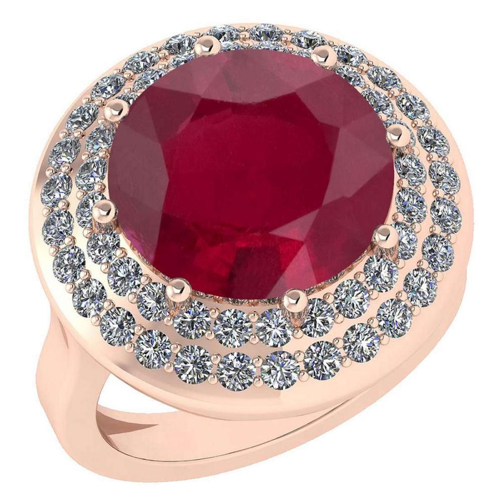 Certified 7.30 Ctw Ruby And Diamond Ladies Fashion Halo Ring 14k Rose Gold (VS/SI1) MADE IN USA #PAPPS20921