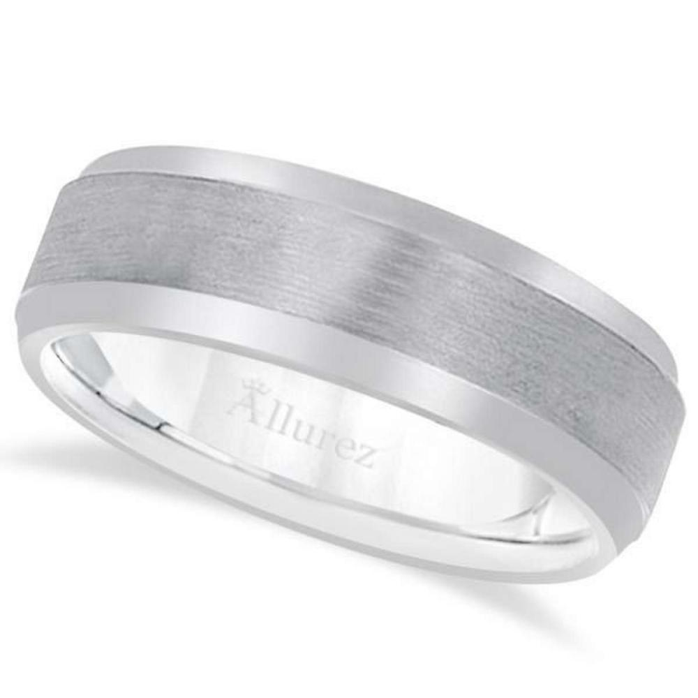 Comfort-Fit Carved Wedding Band in 14k White Gold (7mm) #PAPPS20925