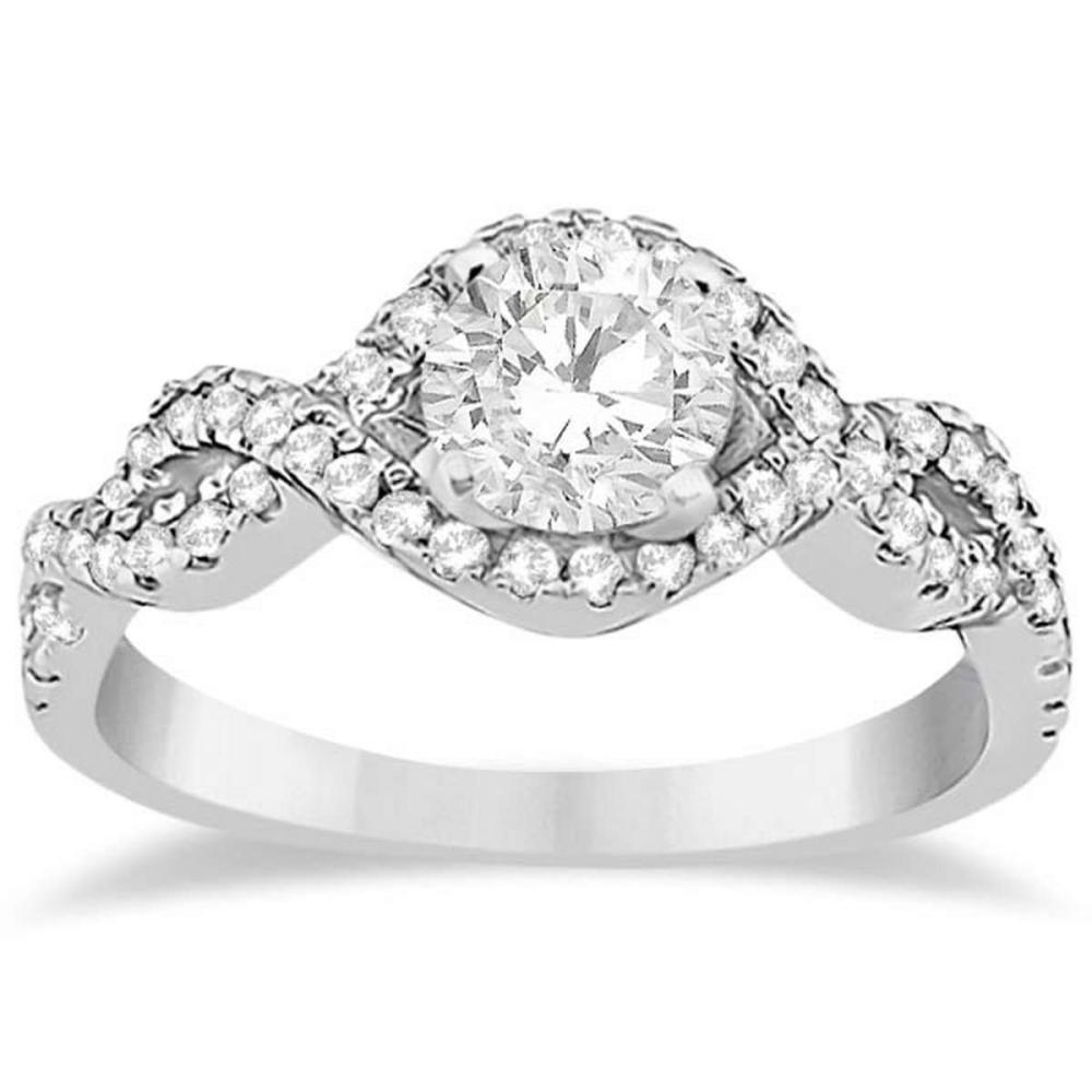 Diamond Halo Infinity Engagement Ring In 14K White Gold (0.79ct) #PAPPS20671