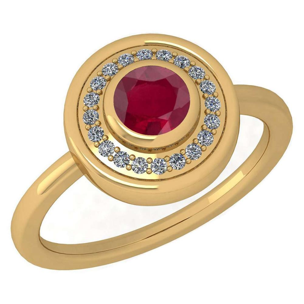 Certified 0.62 Ctw Ruby And Diamond Ladies Fashion Halo Ring 14K Yellow Gold (VS/SI1) MADE IN USA #PAPPS20933