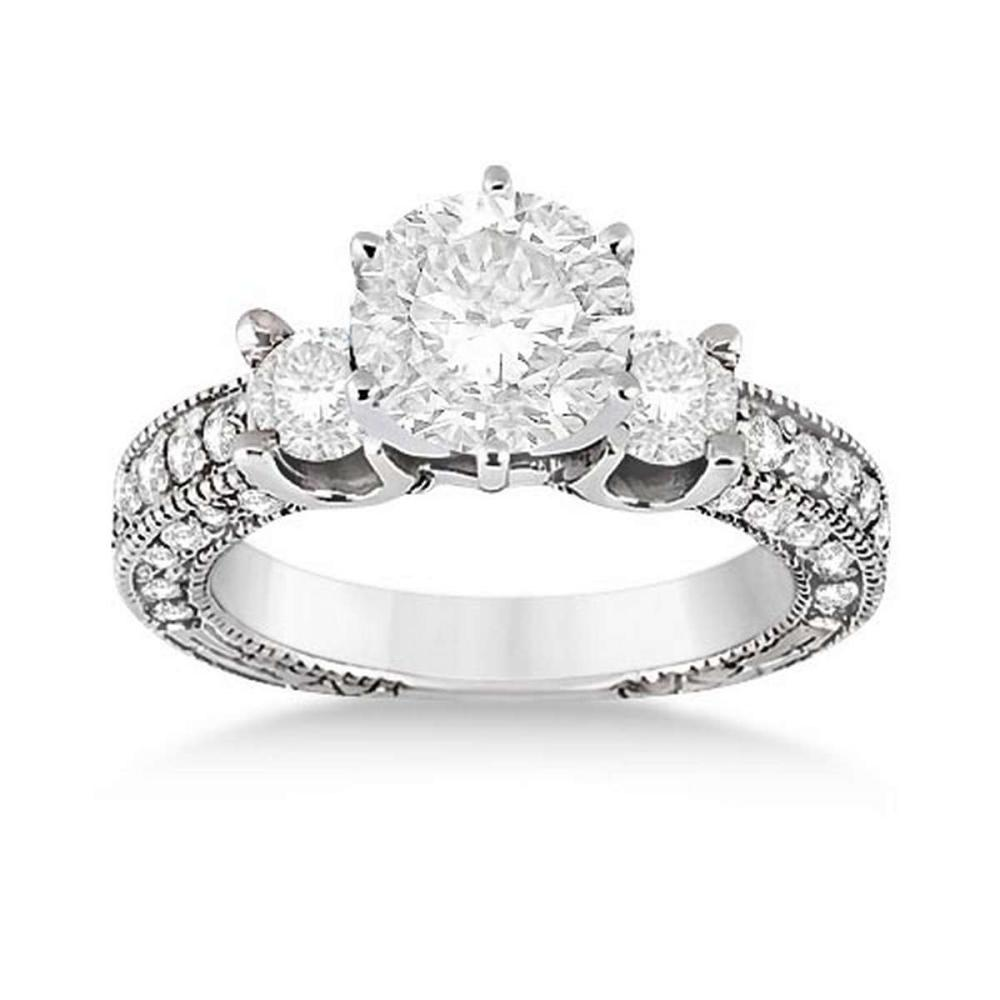 Vintage Three-Stone Diamond Engagement Ring 18k White Gold (1.60ct)  #PAPPS20704