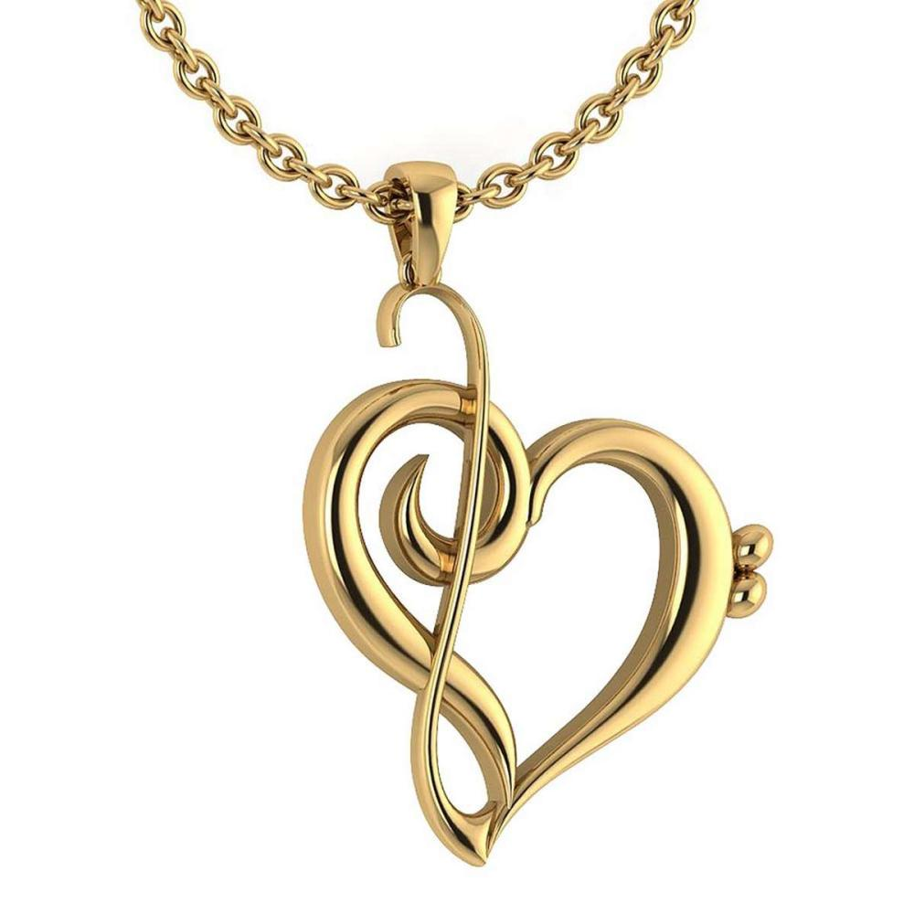 Gold Heart Shape Pendant 14K Yellow Gold Made In Italy #PAPPS22190