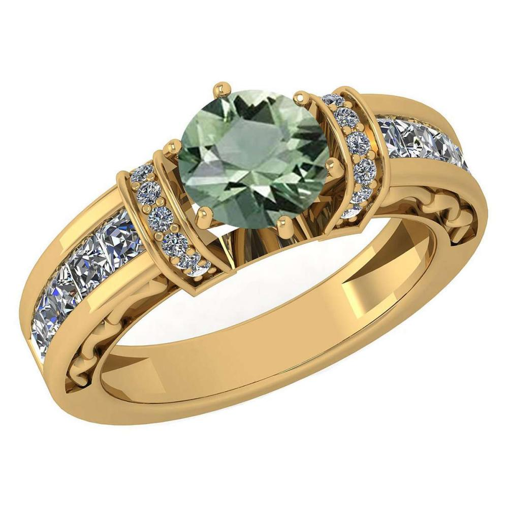 Certified 2.15 Ctw Green Amethyst And Diamond Ladies Fashion Halo Ring 14K Yellow Gold (VS/SI1) MADE IN USA #PAPPS21055