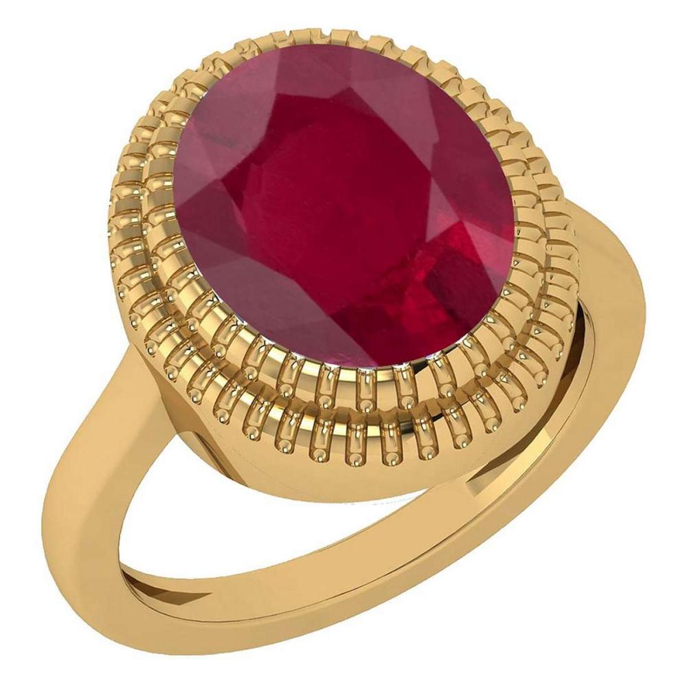 Certified 5.05 Ctw Ruby 14k Yellow Gold Solitaire Ring (VS/SI1) MADE IN USA #PAPPS20927