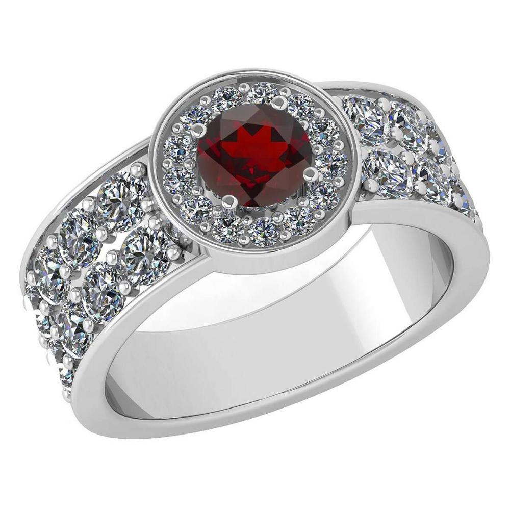 Certified 1.88 Ctw Garnet And Diamond Ladies Fashion Halo Ring 14K White Gold (VS/SI1) MADE IN USA #PAPPS21061